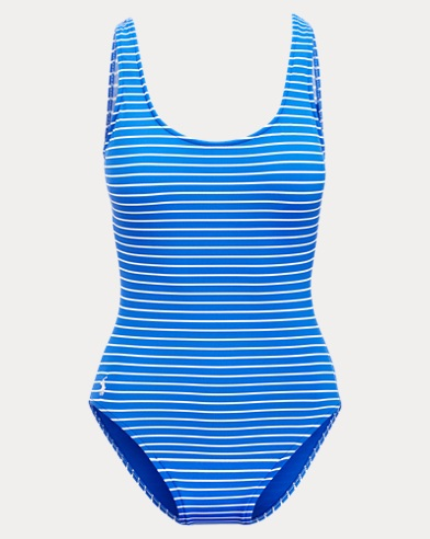 Striped Lace-Up-Back Swimsuit