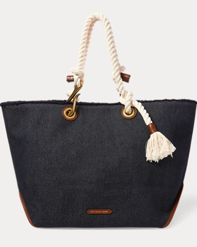 Braided-Rope Canvas Tote