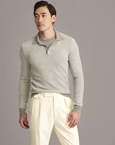 Birdseye Cashmere Polo Sweater