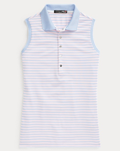 Striped Sleeveless Polo Shirt