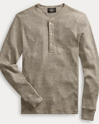 Waffle-Knit Cotton Henley