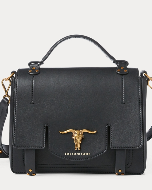 Leather Small Schooly Bag by Ralph Lauren
