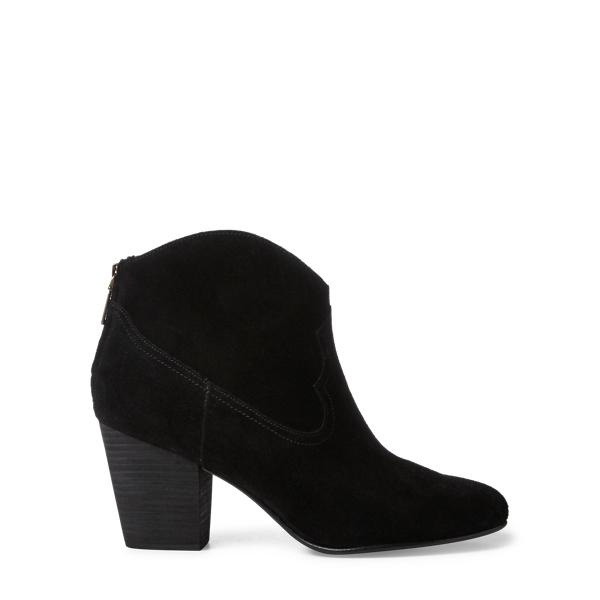 Ralph Lauren Mazie Suede Cowboy Boot Black 10