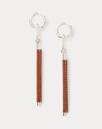 Leather-Silver Drop Earrings