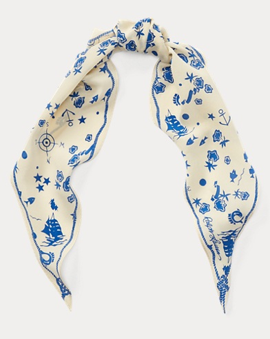 Nautical-Print Silk Scarf