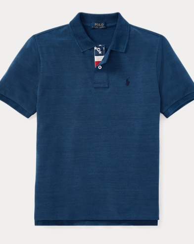 Indigo Cotton Mesh Polo Shirt