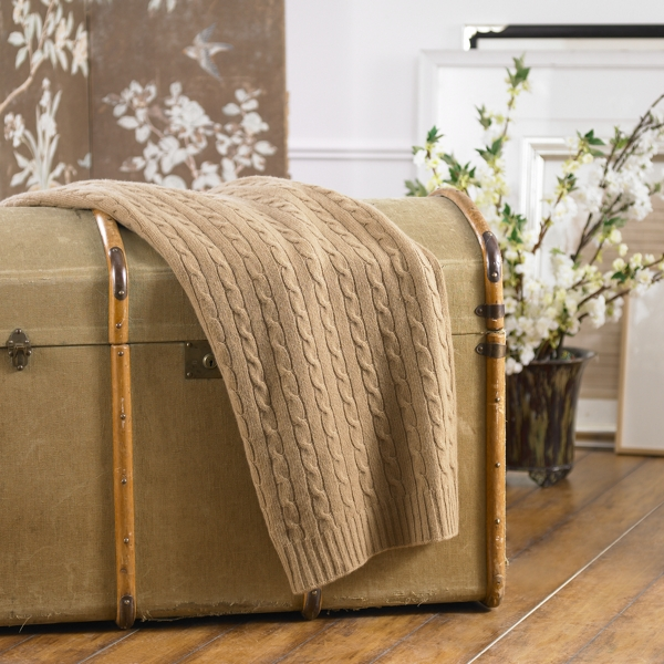 Ralph Lauren Cable Cashmere Throw Blanket Camel 60