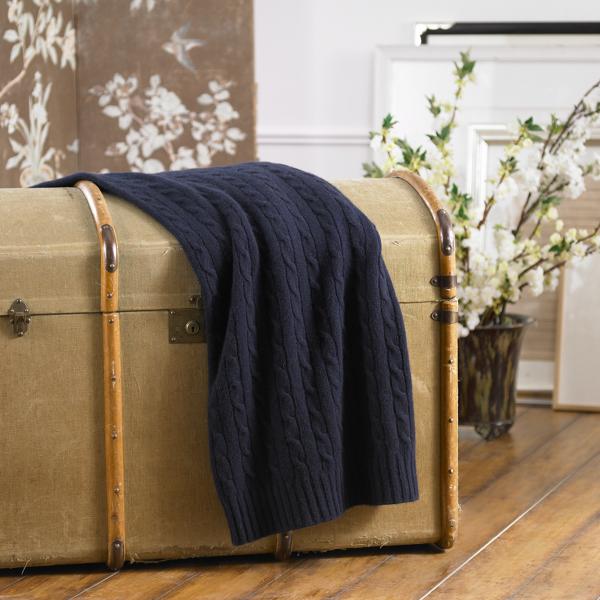 Ralph Lauren Cable Cashmere Throw Blanket Navy 60