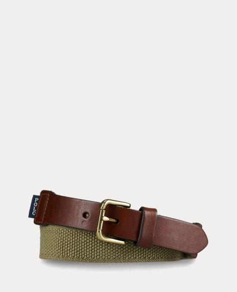 Webbed-Cotton and Leather Belt