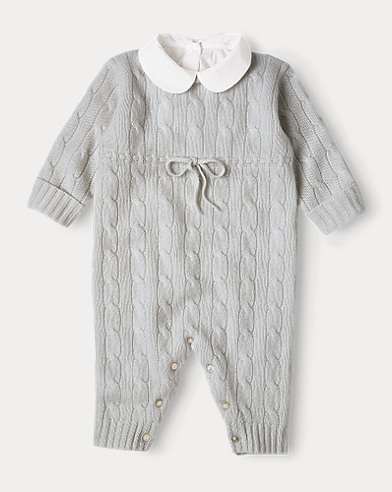 Cashmere Knit-Collar Coverall
