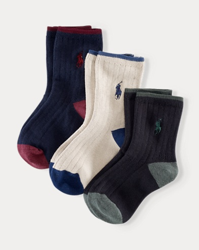 Ribbed Crew Socks 3-Pack