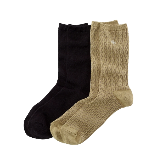 Ralph Lauren Cable-Knit Trouser Sock 2-Pack Khaki Assorted One Size