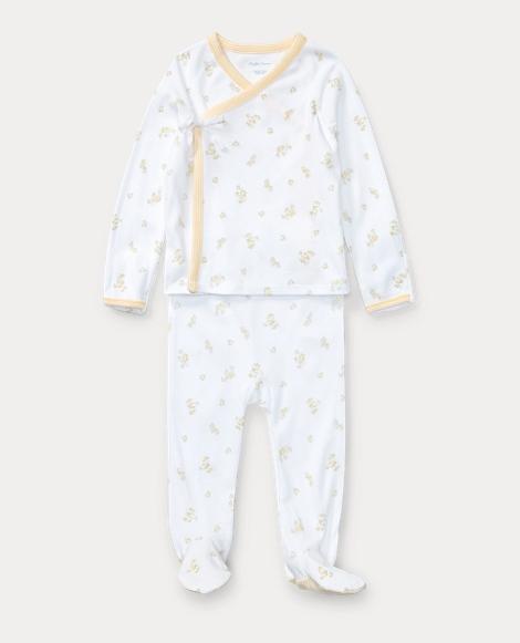 Duck-Print Cotton Kimono Set