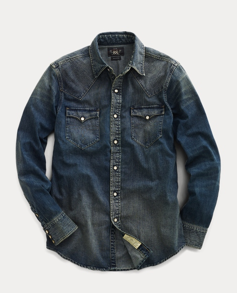 Slim Fit Denim Western Shirt