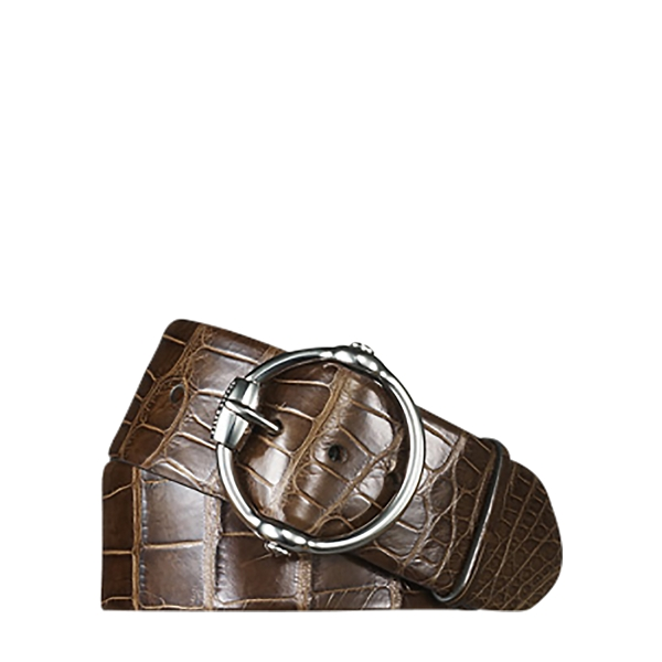 Ralph Lauren Alligator Equestrian Bit Belt Rl Brown L