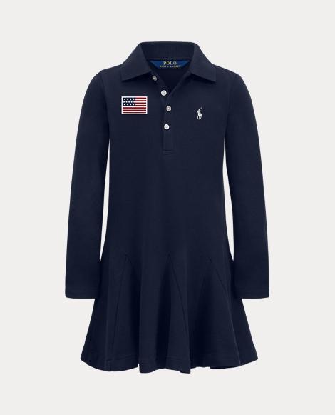 Girls Stretch Mesh Polo Dress